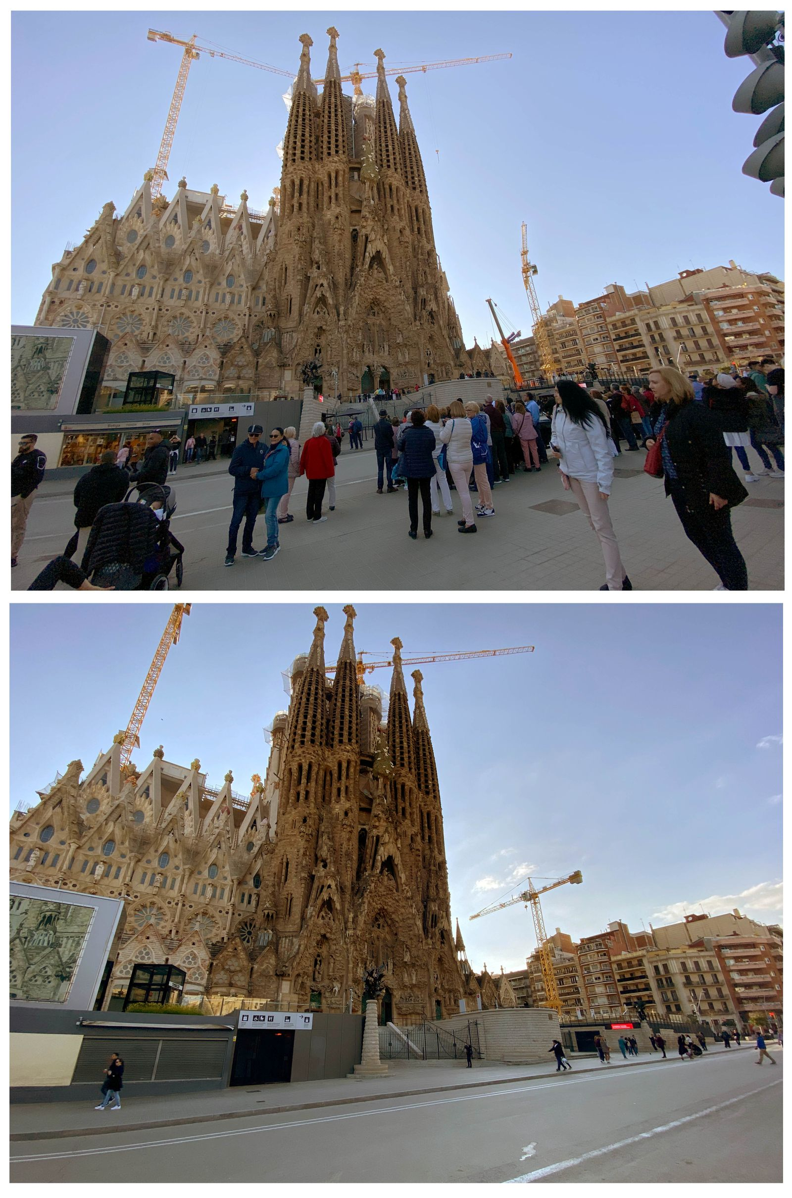 Sagrada Familia basilica, before and after being closed as a precautionary measure due to the coronavirus outbreak in Barcelona