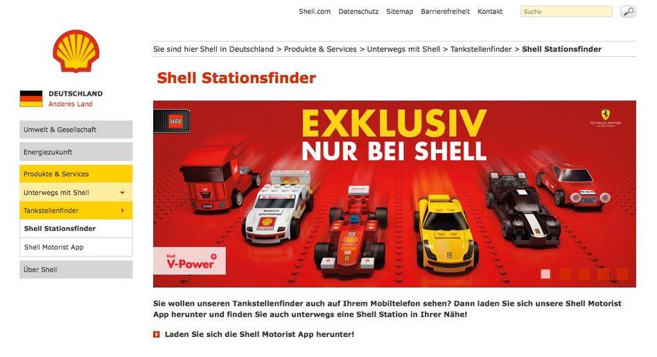 PR-Aktion von Shell und Lego (auf der Website des Ölkonzerns): Vertrag beendet