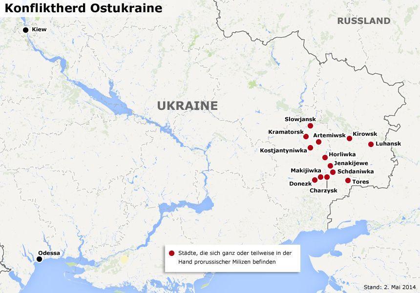 Karte: Konfliktherd Ostukraine (2.5.2014)