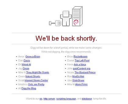 Digg-Pausenseite mit Schaufel: Buddeln im Netz nach interessanten Storys