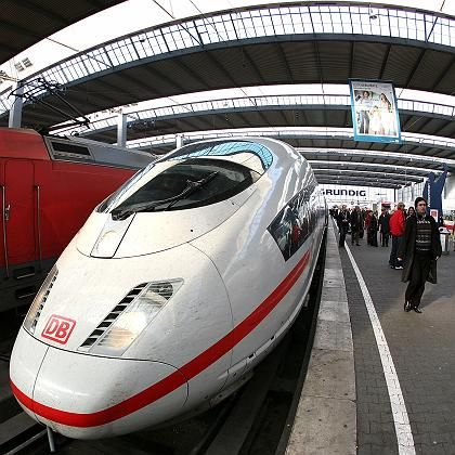 A high-speed ICE train, the pride of the German rail network, at Munich station.