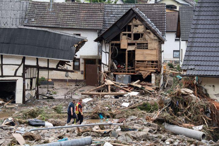 Das von der Flut zerstörte Dorf Schuld in Rheinland-Pfalz
