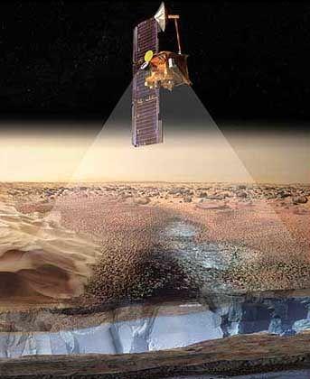 """Marssonde """"Odyssey"""" (Zeichnung): """"Fingerabdruck des Wasserstoffs"""""""