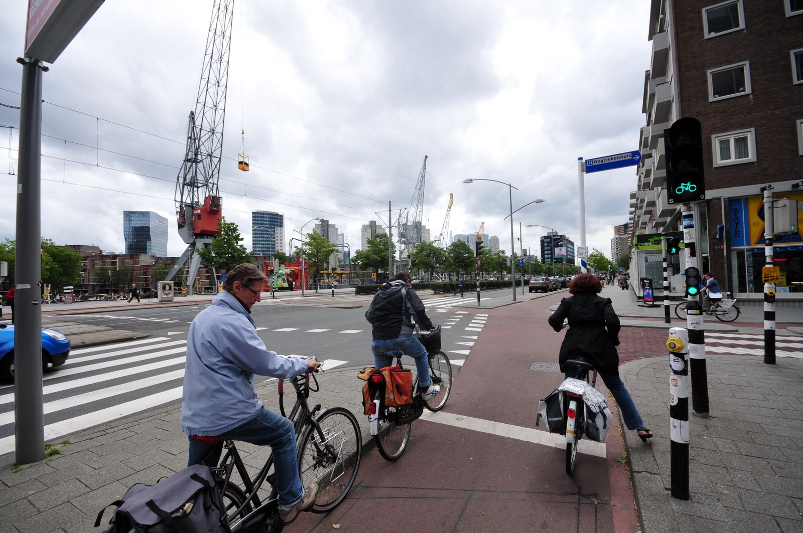 Geschützte Kreuzung für Fahrradfahrer