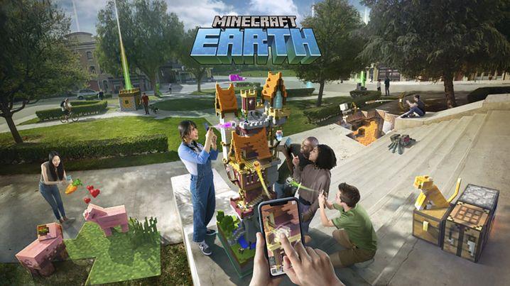 """Werbebild zu """"Minecraft Earth"""": Gemeinsam bauen im Park"""