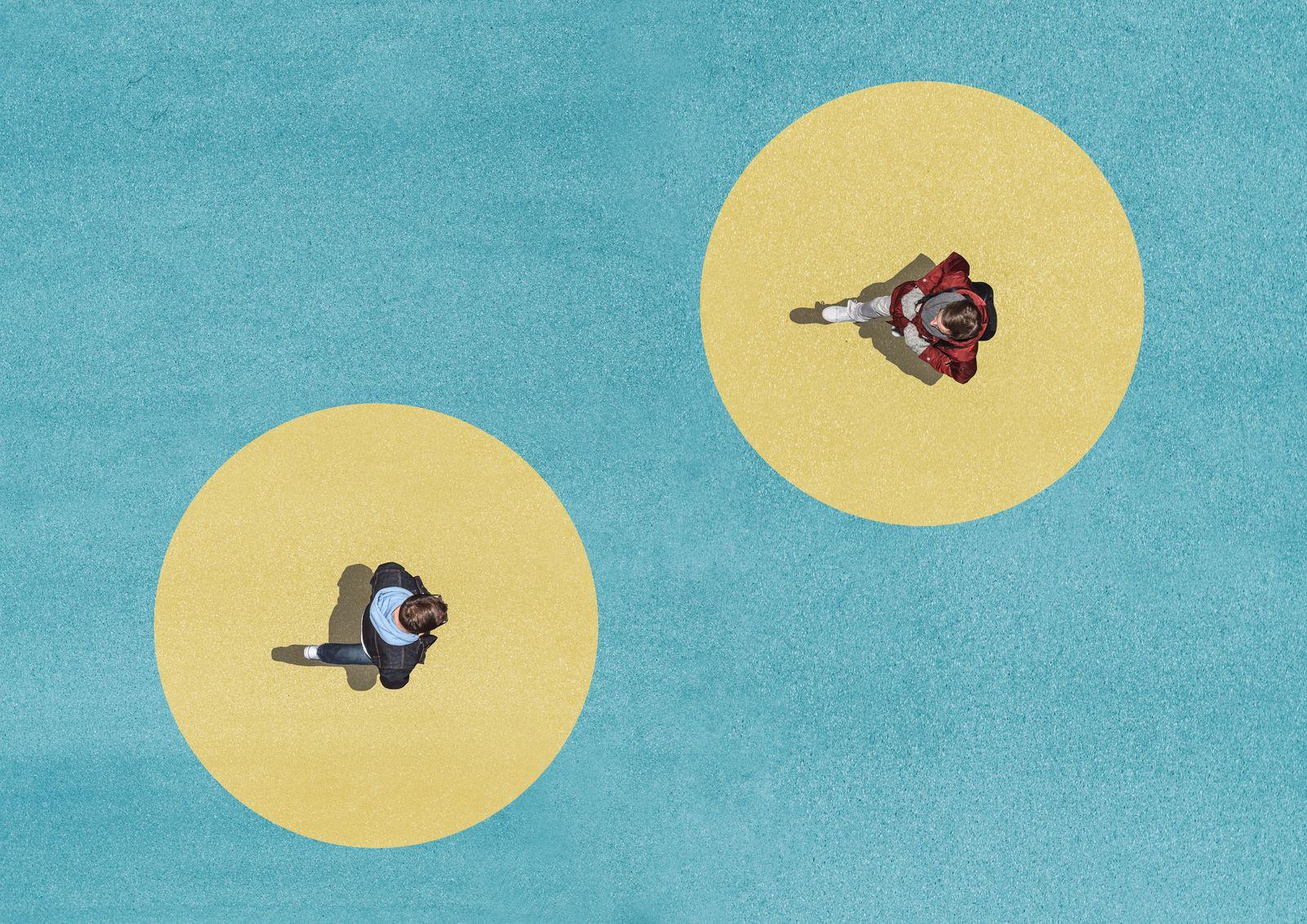 Two men crossing, Aerial View