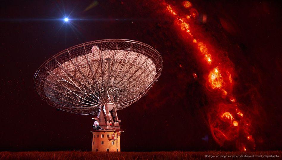 Radioteleskop und einzelner Radioblitz (künstlerische Darstellung): Frustrierende Suche nach Außerirdischen
