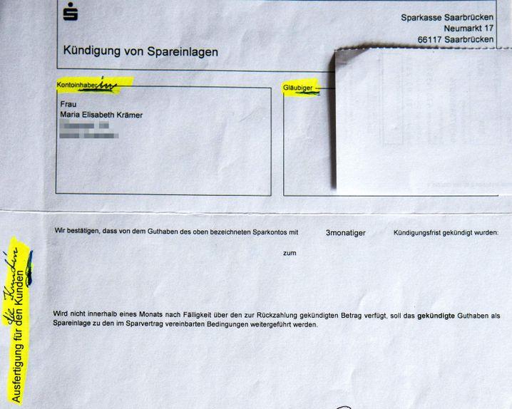 Sparkassenformular von Marlies Krämer