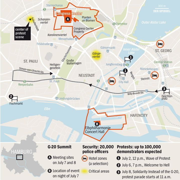 Map of Key G-20 and protest sites in central Hamburg