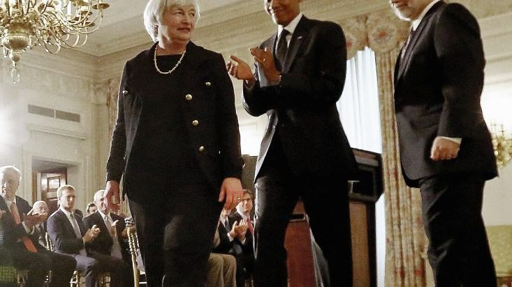 Notenbankerin Yellen, Präsident Obama, Fed-Chef Bernanke: Gewagter Feldversuch