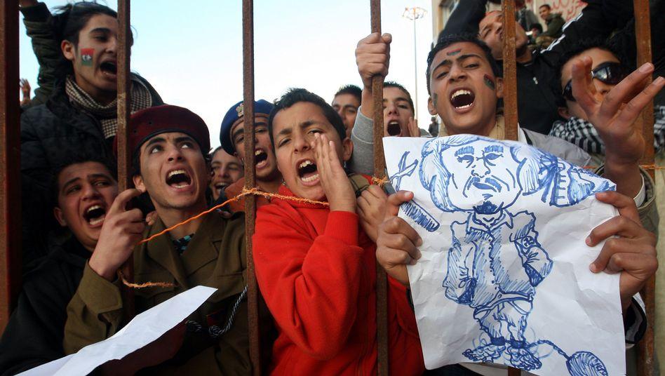 Demonstranten in Bengasi: Revolutionssongs liefern den Soundtrack zu den Unruhen