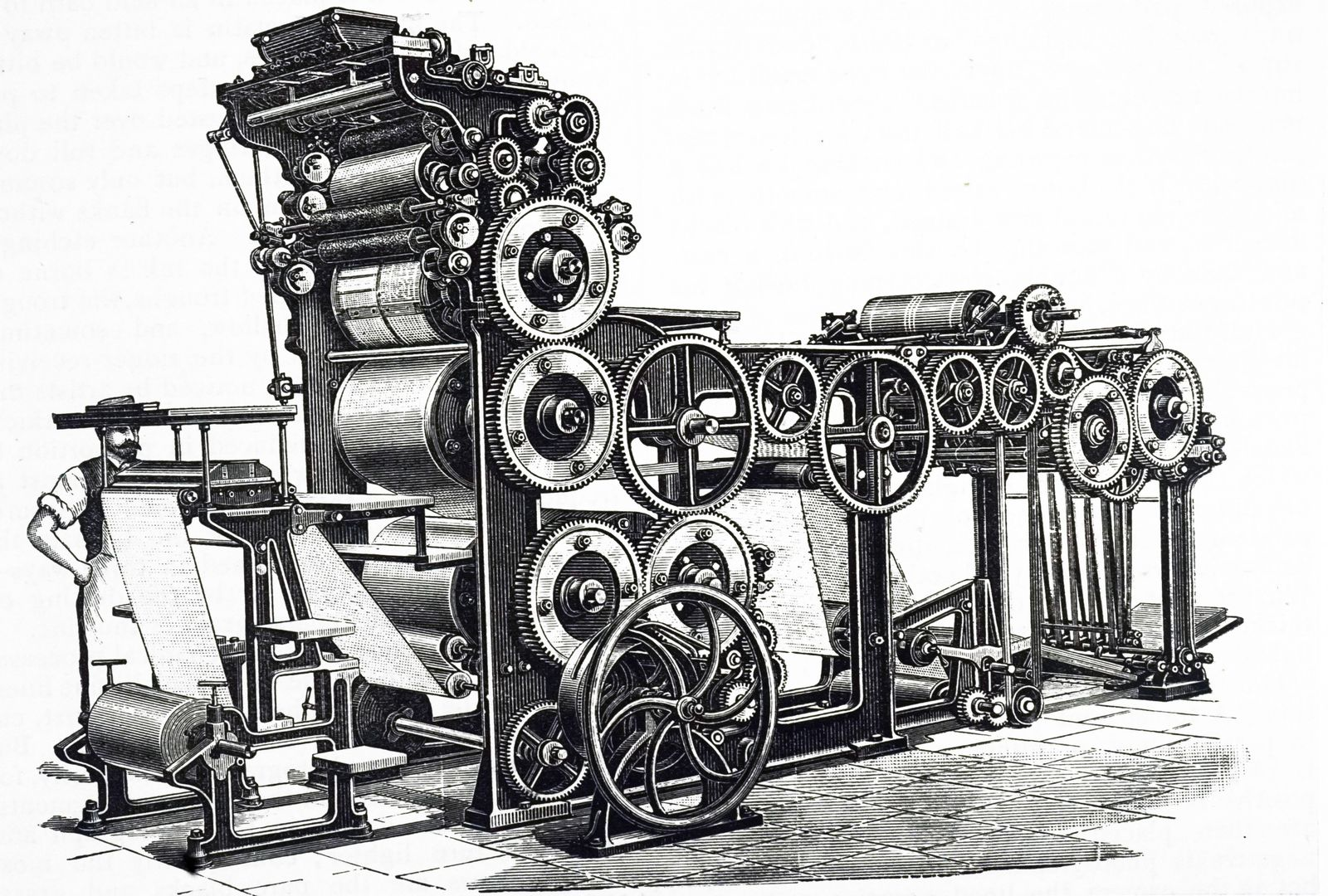 An engraving depicting the Marioni s rotary press installed for illustrated work This machine coul