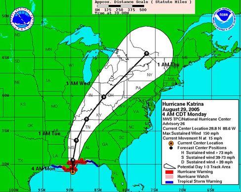 """Vorhergesagter Weg des Hurrikans """"Katrina"""": Schneise der Zerstörung"""