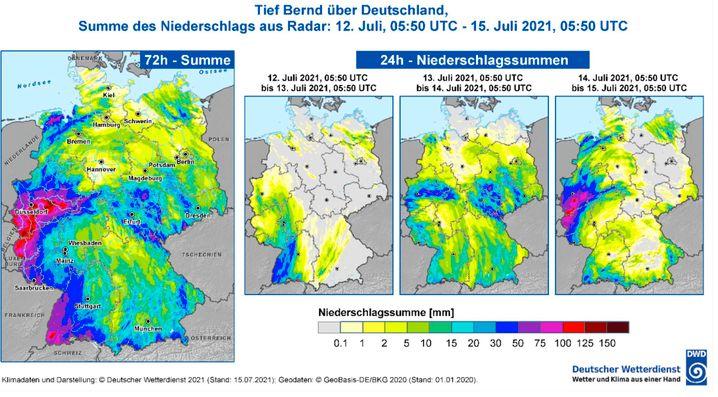 In den rot und violett gefärbten Gebieten war die Niederschlagsmenge Mitte Juli besonders groß