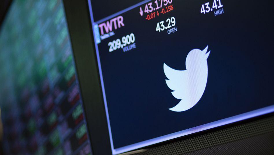 Twitter-Logo an der New Yorker Börse: Enttäuschende Quartalszahlen