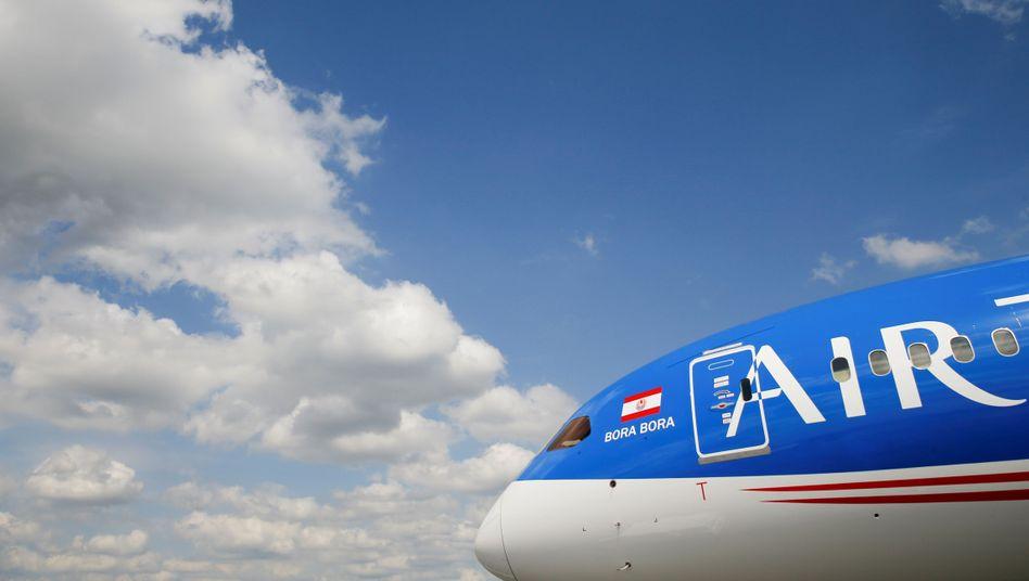 Boeing 787 Dreamliner von Air Tahiti Nui auf der Pariser Luftfahrtausstellung in Le Bourget