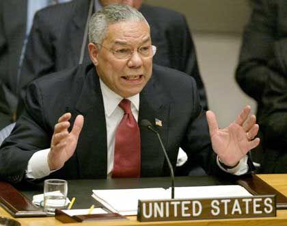 """Colin Powell bei der Beweis-Vorlage im Uno-Sicherheitsrat: """"Hoffentlich fliegt uns das nicht um die Ohren"""""""