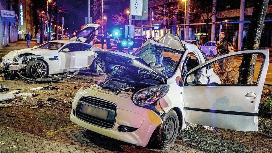 Schauplatz eines von einem Raser verursachten Unfalls in Stuttgart
