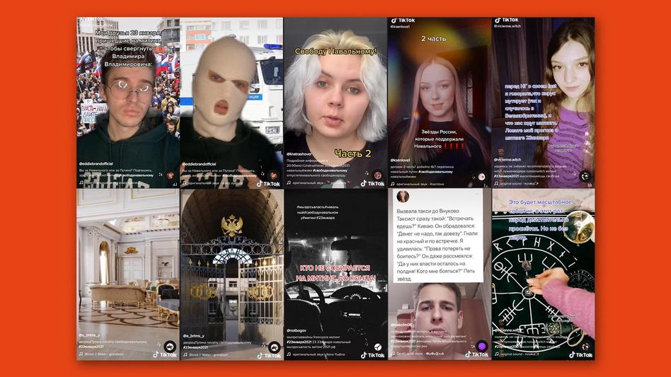 Screens von TikTok-Videos vor den Protesten zur Unterstützung des inhaftierten Alexej Nawalny