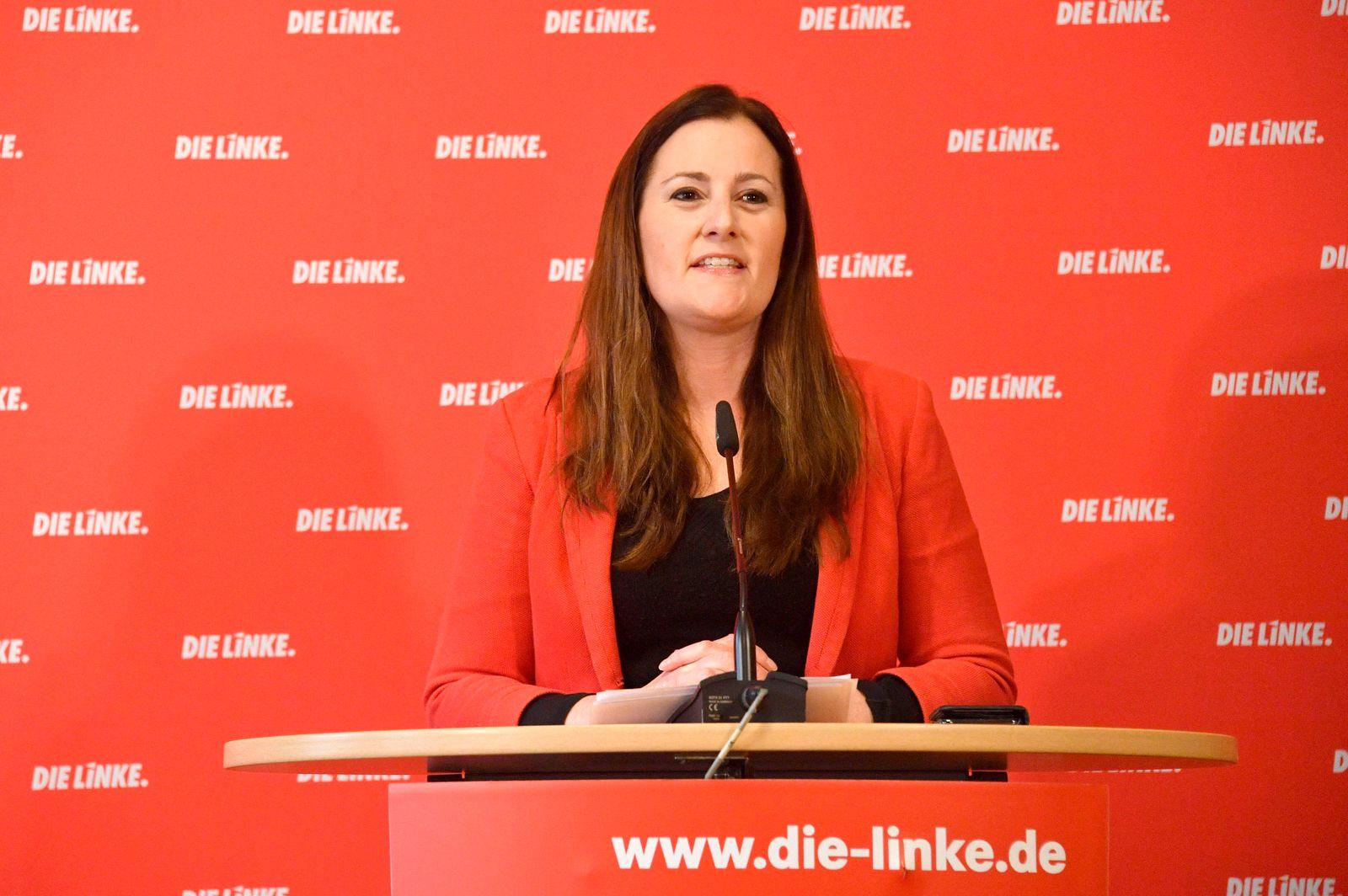 Janine Wissler bei der Pressekonferenz der Partei Die Linke zu aktuellen politischen Themen im Karl-Liebknecht Haus. Be