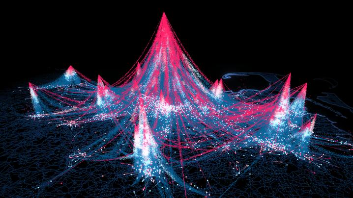 Was ist hier zu sehen? Diese Grafik visualisiert die Ströme von Personen im Großraum Boston – die Häufigkeit ist als Farbe dargestellt, die Anzahl der einzelnen Besucher spiegelt sich in der Breite wieder. Die Höhe der Spitzen zeigen die Attraktivität eines bestimmten Ortes an.