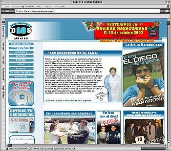 "Screenshot der Homepage ""Iglesia Maradoniana"""