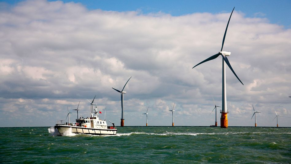 Vattenfall's Thanet Offshore Wind Farm, off the southeast coast of England, currently the largest offshore wind farm in the world.