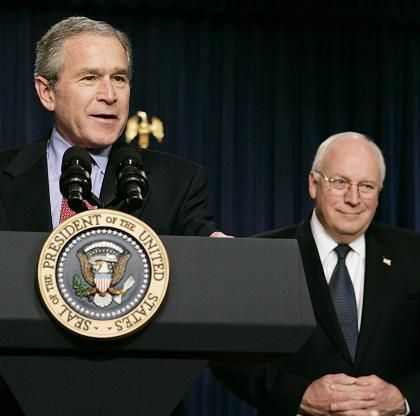 "US President Bush and Vice President Cheney. ""Saddam Hussein was not as dumb as we thought."""