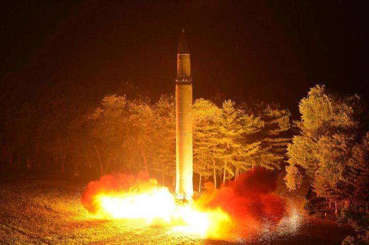 Hwasong-14-Rakete bei ihrem Start am 29. Juli in Nordkorea