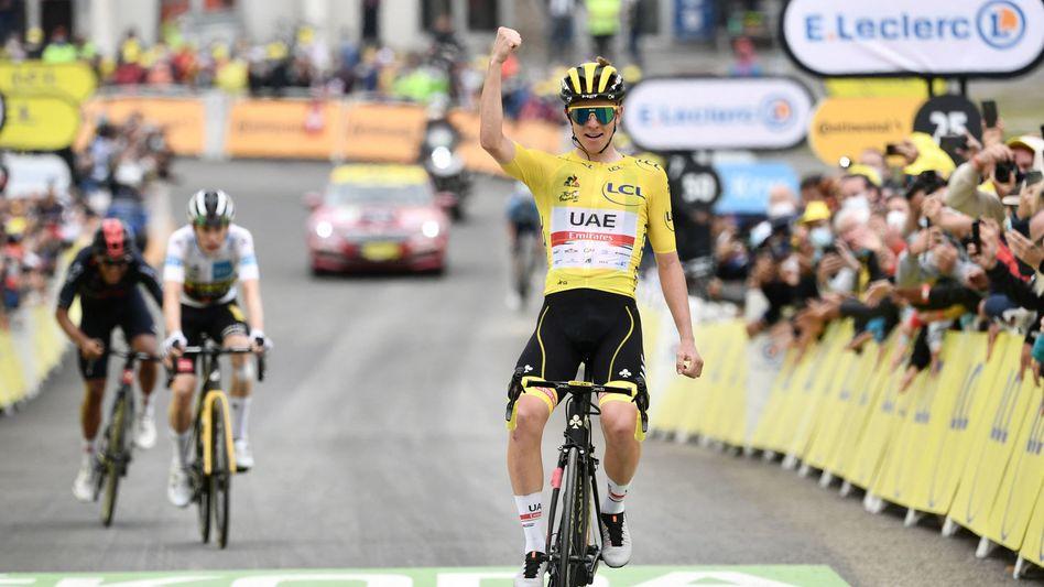 Tadej Pogačar mit seinem dritten Tagessieg bei der diesjährigen Tour