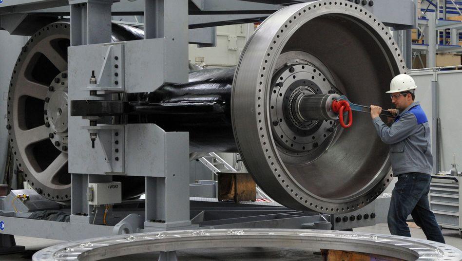 Arbeiter beim Anlagenbauer Voith: Exportrückgang bei der deutschen Industrie