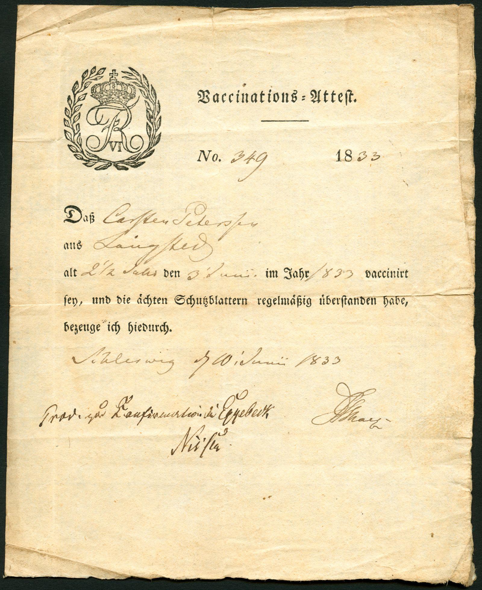 Impfbescheinigung 1830er Jahre