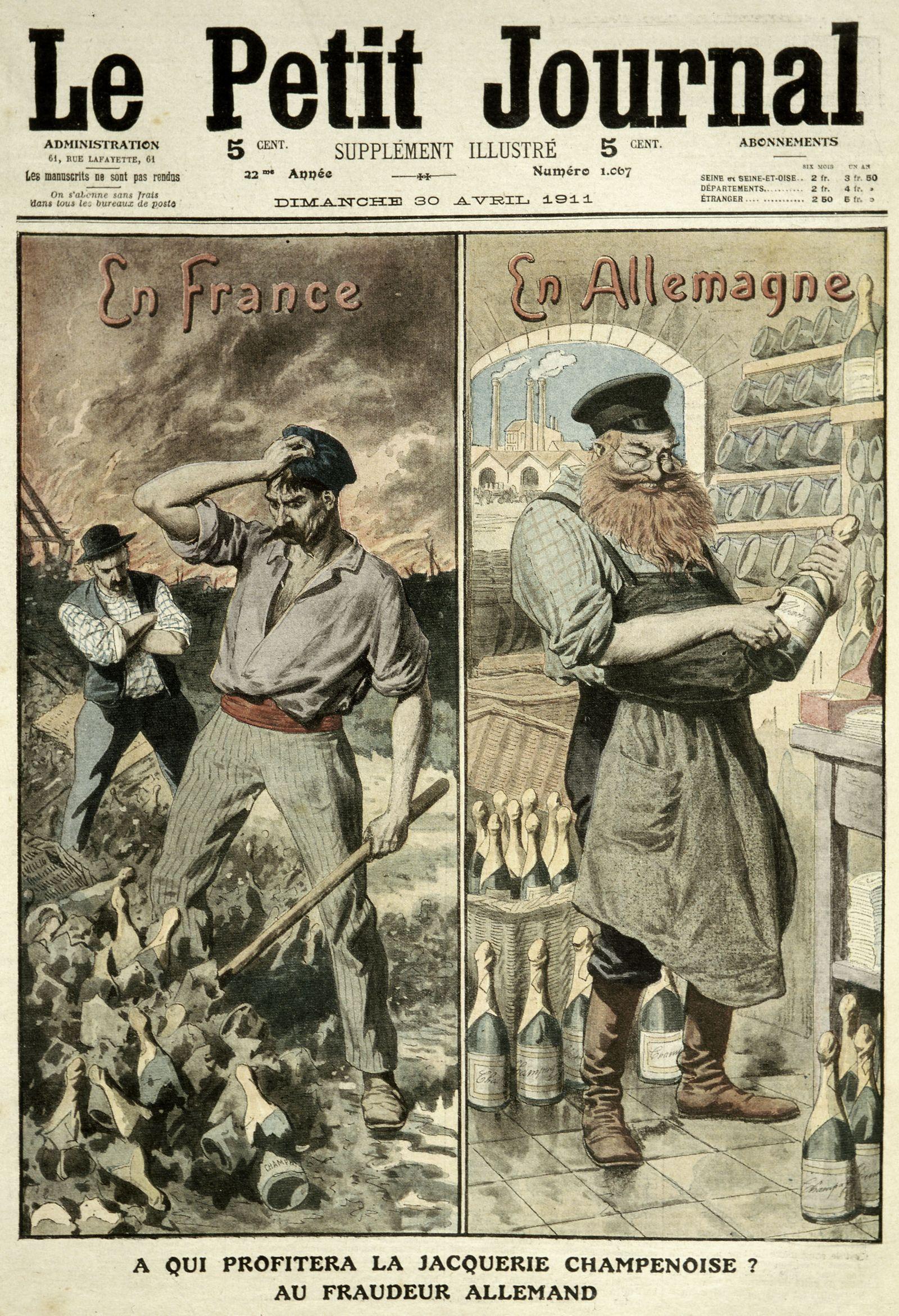 Petit Journal A qui profitera la jacquerie champenoise? au fraudeur allemand Couverture du Petit Journal Illustre, avril