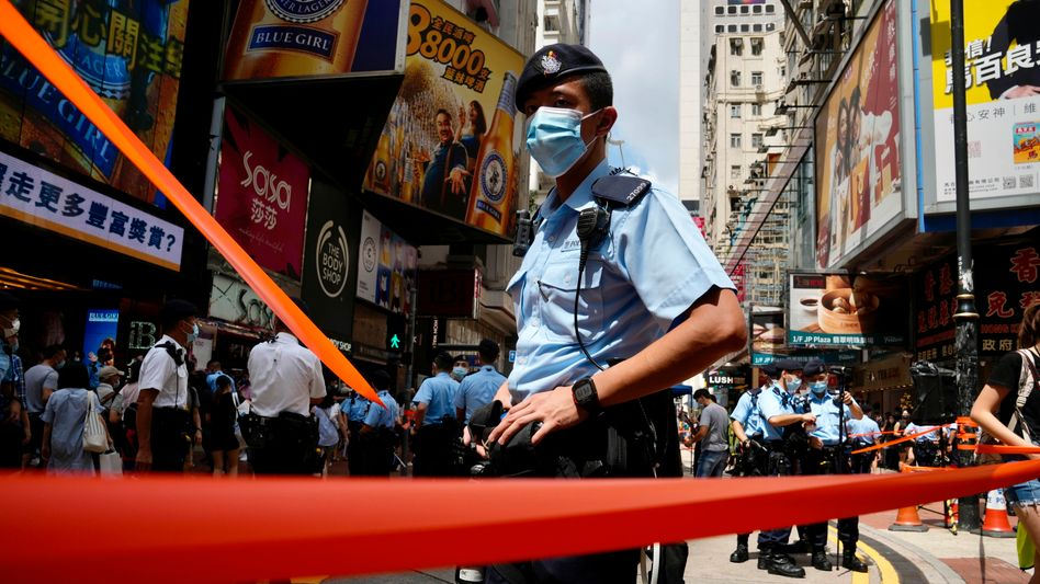 Polizist bei Protesten in Hongkong (Foto vom 1. Juli)