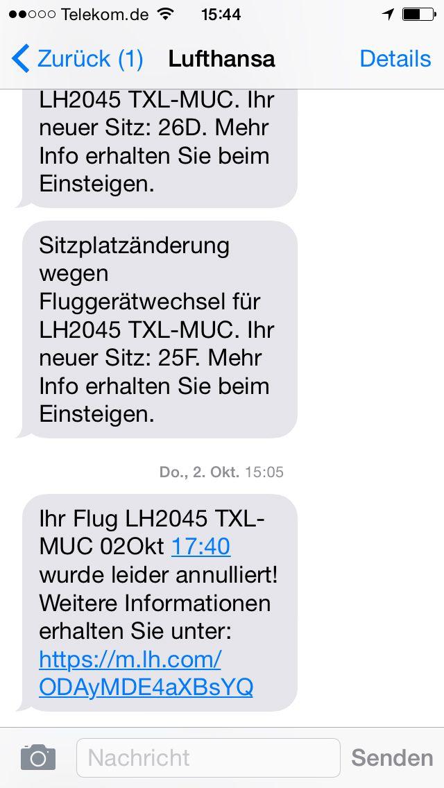 EINMALIGE VERWENDUNG NUR ALS ZITAT Screenshot Lufthansa/ Stornierung/ Rückerstattung