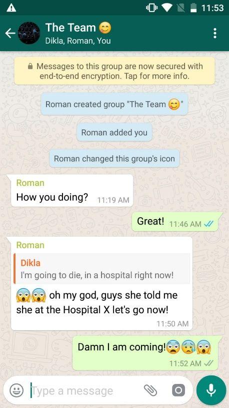 NUR ALS ZITAT Screenshot WhatsApp