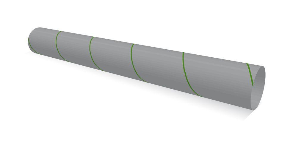 Fünf Umdrehungen von einer Seite zur anderen: Wie lang ist die grüne Linie?