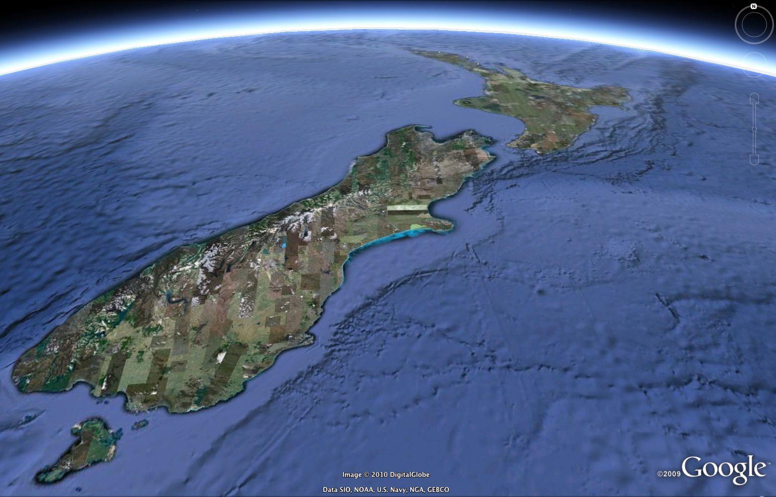 Google Earth / Neuseeland / Erdbeben
