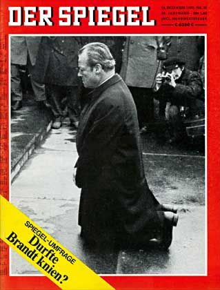 Then Chancellor Willy Brandt's kneeling in front of the Warsaw Ghetto memorial in December, 1970.