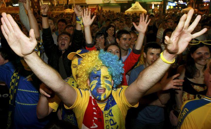 Viel gejubelt wurde in der Ukraine nach dem Sieg gegen Schweden - aber nicht geflogen