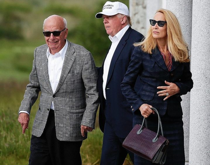 Murdoch, Trump and Murdoch's wife Jerry Hall in 2016