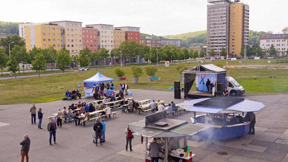 Wahlsieger im Wohngebiet: AfD-Wahlveranstaltung in Gera (am 17. Mai)