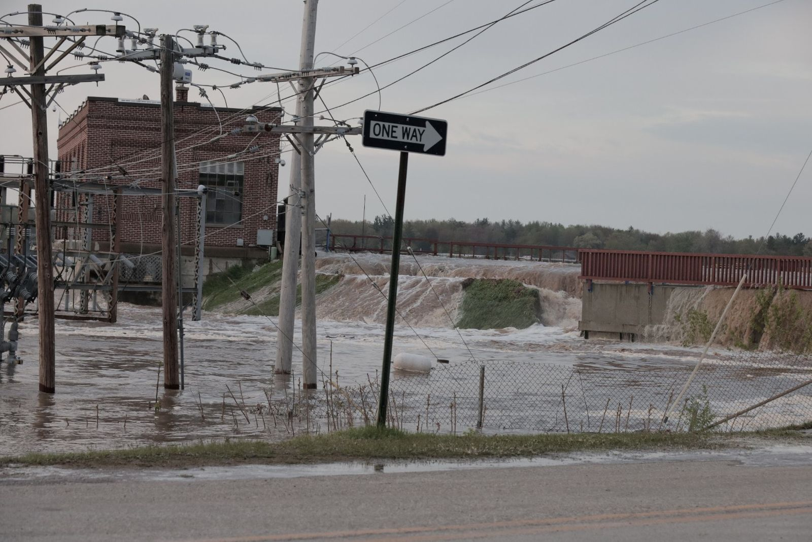 Floodwaters overflow at Sanford Dam, Michigan, U.S. in this May 19, 2020 picture obtained from social media.