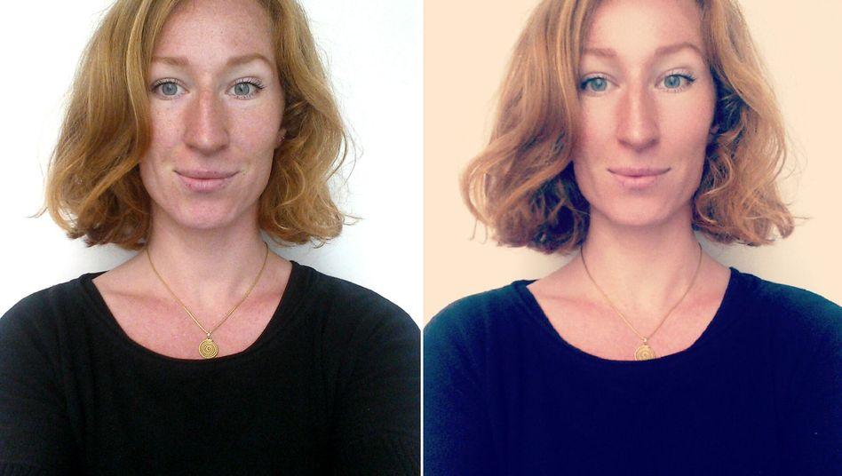 Unbearbeitetes Foto der Autorin und die optimierte Version (rechts)