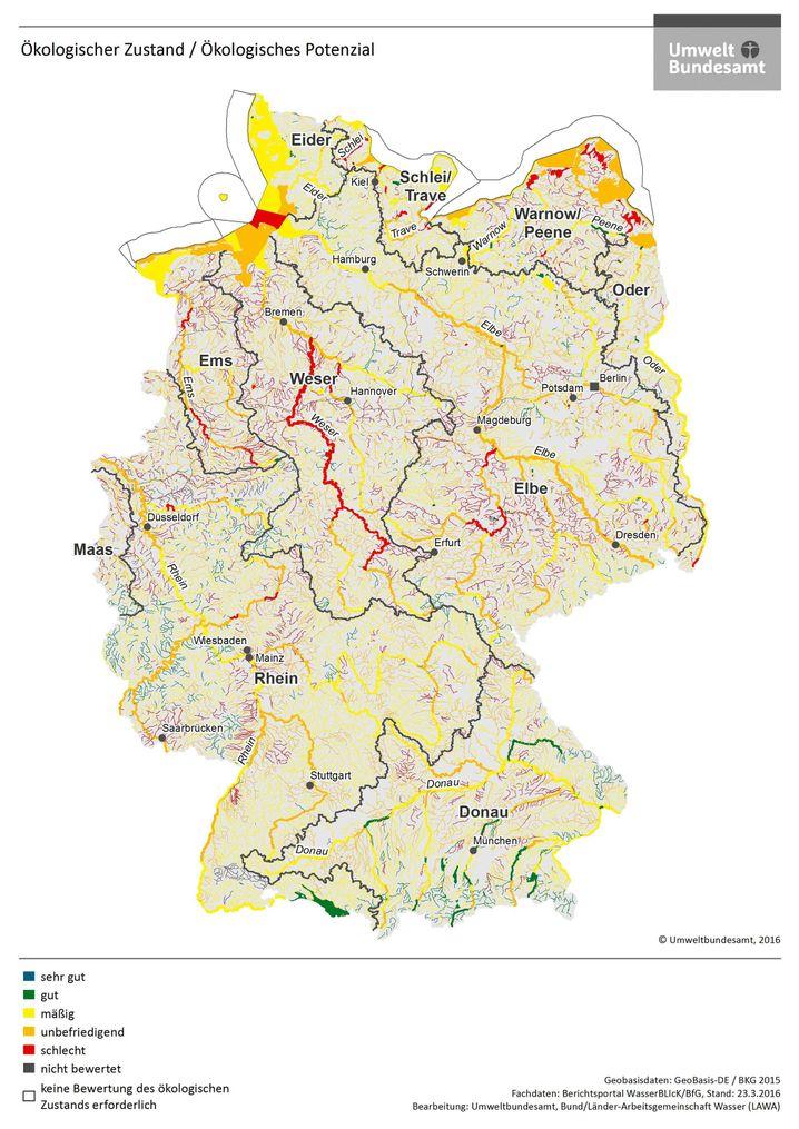 Ökologischer Zustand der Gewässer in Deutschland (für eine Beschreibung das Bild anklicken)