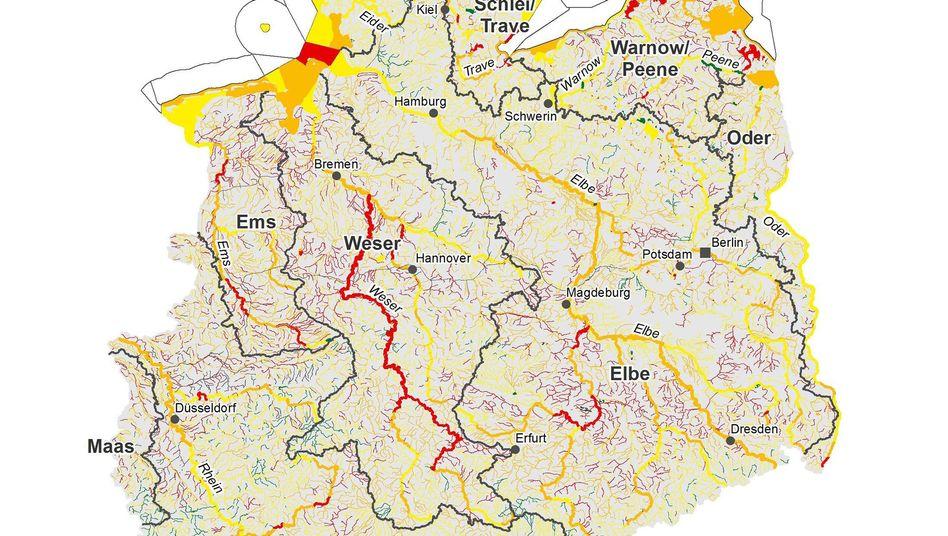 Ökologischer Zustand der Gewässer in Deutschland (für eine Beschreibung das Bild anklicken).