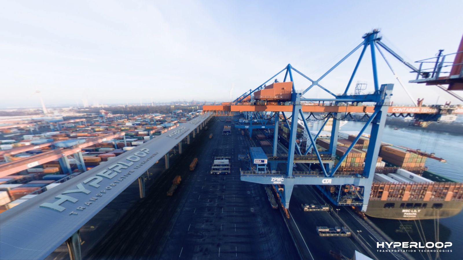 EINMALIGE VERWENDUNG Hyperloop Transportation Technologies Hamburger Hafen