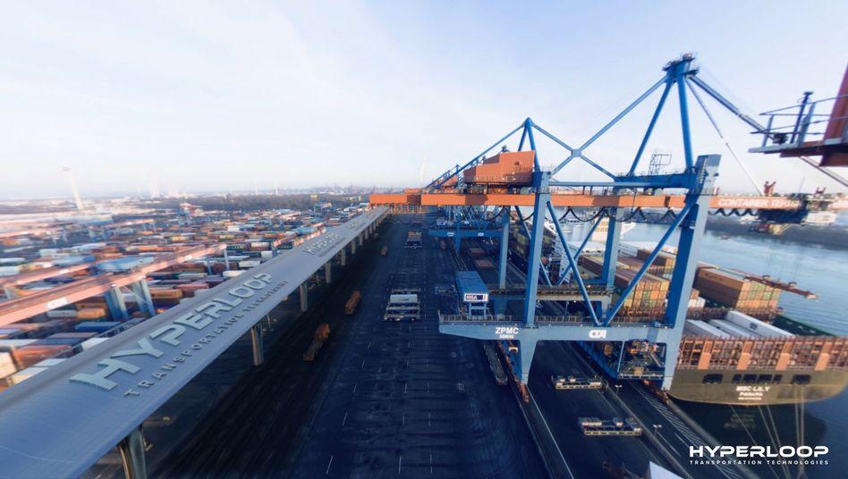 Fotomontage mit Hyperloop im Hamburger Hafen
