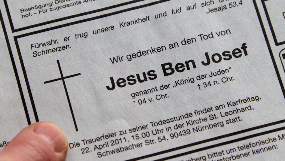 """Todesanzeige für Jesus in Nürnberger Zeitung: """"Kein billiger Werbegag"""""""