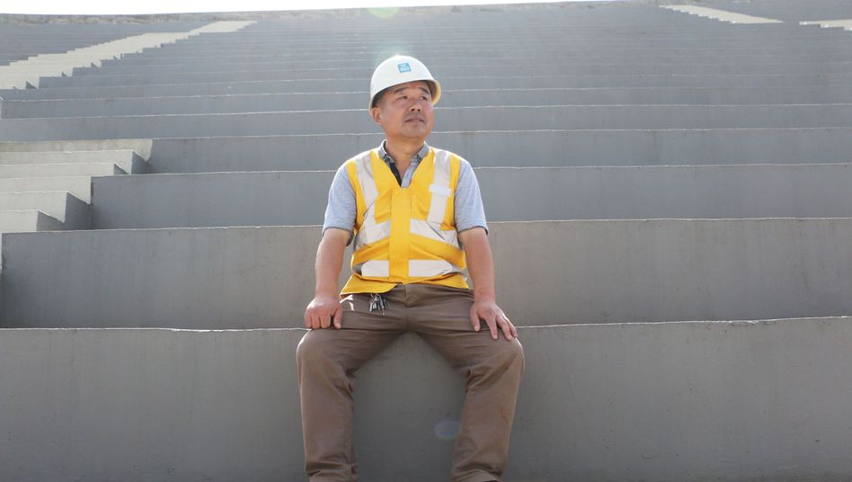 Xu Dingqiang, the head of electrical and sanitation installations at the future Addis Ababa National Stadium.